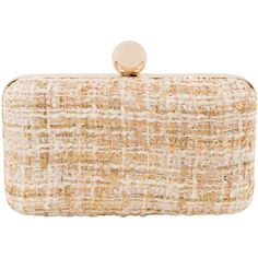 Inge Christopher Adeline Ivory Tweed Clutch ($145) ❤ liked on Polyvore featuring bags, handbags, clutches, ivory, woven purses, tweed purse, beige purse, clasp purse and ivory handbag