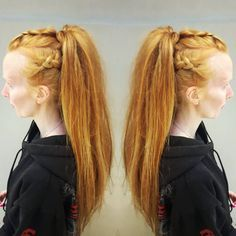 "Vikings Braids on ginger hair    40 Likes, 1 Comments - Jacqueline (@jacqwuzhair) on Instagram: ""Fun vikings-esque hair for a Christmas party tonight!  #updo #workthatupdo #simple #ponytail…"""