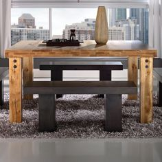Shop for the Canadel Loft - Custom Dining Customizable Square Table with Legs & Accent Rivets at Belfort Furniture - Your Washington DC, Northern Virginia, Maryland and Fairfax VA Furniture & Mattress Store Belfort Furniture, Square Tables, Table Legs, Home Look, Dining Bench, Dining Room, Sweet Home, New Homes, Loft