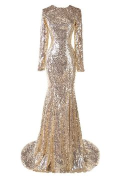 Ellames Sequins Long Sleeves Mermaid Bridesmaid Evening Dresses Champagne US 4
