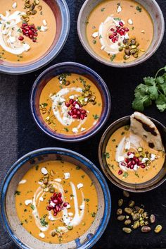 Moroccan Butternut Squash and Goat Cheese Soup with Coconut Ginger Cream and Pistachios - fancy-edibles.com