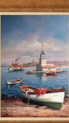Landscape Art, Landscape Paintings, Istanbul, Boat Art, Turkish Art, Nautical Art, Pour Painting, Art Studies, Beautiful Artwork