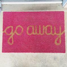 go away door mat by blackbeigebrown on Etsy