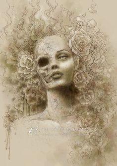 Open Edition ACEO Print  Goth Dark Fantasy Skull by AuroraWings, $4.00