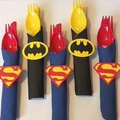SuperHero wrapped utensils with napkin ring/batman/superman/