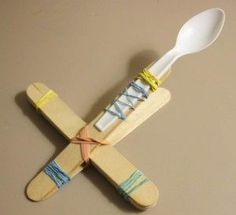 Mini Marshmallow Catapult with popsicle sticks, rubber bands, and plastic spoon - that's all!: