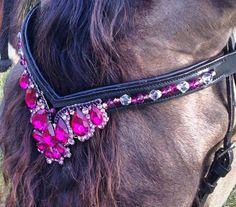 Fancy Fushia Gem Bling Browband for Horse