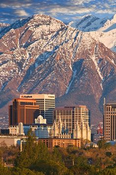 Salt Lake City Utah is a picturesque city with the mountains as a backdrop.  Be sure to visit Temple Square and see the Mormon Tabernacle.  Beautiful grounds and architecture.