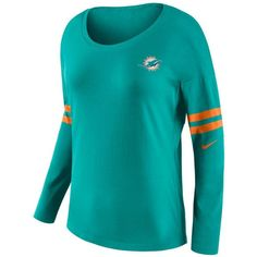 Nike Women's Miami Dolphins Tailgate Long Sleeve Top ($55) ❤ liked on Polyvore featuring tops, white, nfl logo shirt, long sleeve tops, nike shirts, long sleeve scoop neck top and nike top