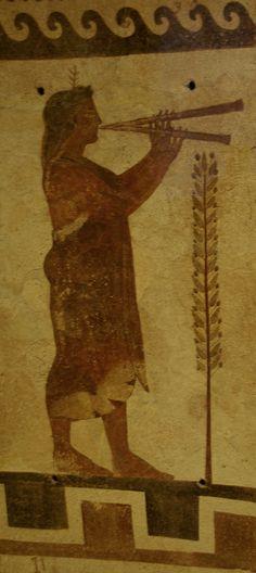 Flautista, pintura Etrusca Etruscan terracotta plaque, about 470 B.C., Museum of Fine Arts, Boston.