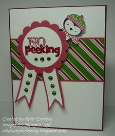 """The card base is Cherry Cobbler card stock. Added to that is a strip of Snow Festival designer paper matted with Primrose Petals card stock. The sentiment from the No Peeking stamp set was heat embossed on Whisper White card stock with VersaMark and Cherry Cobbler embossing powder. It was punched out with the 1-3/4"""" Circle Punch. I added a 2-3/8"""" scalloped circle of Primrose Petals card stock. Two """"tails"""" were made with Primrose Petals and Whisper White card stocks. I sponged around…"""