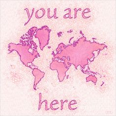 World Map Airy Square with 'You Are Here' text In Pink And White by elevencorners. World map wall print decor. #elevencorners #mapairy