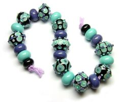 Lampwork glass 'Intergalactic Purquoise' beads by Laura Sparling