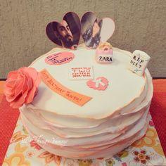 Posing with the love of her life #fawadkhan.. Surrounded by all her favourite things! #cake #ruffles #prettycake #flower #gumpaste #gumpasteflower #lawyerband #zara #shoppingbag #thirtieth #birthday #birthdaygirl #pink #orange #designercake #customisedcake #atyummy