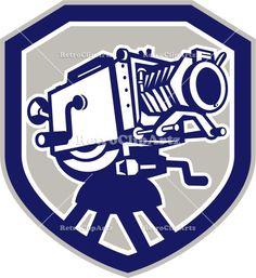 camera, crest, film camera, isolated, lens, movie camera, retro, shield, video, vintage, woodcut