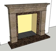 A design for a Marble Fireplace in two types of stone.
