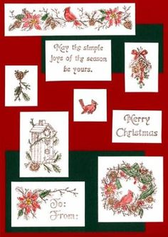 "Nature's Christmas; cardinal/ poinsettia/pinecone mini border; pine sprig with cone; ""may the simple joys of the season by yours."" ""Merry Christmas,"" poinsettia To/From, pine wreath with cardinal, birdhouse, cardinal, hanging greens"