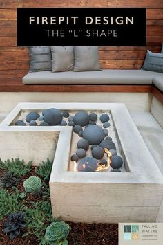 Fire pit sand and fire balls Hard Landscaping Ideas, Fire Pit Landscaping, Landscaping Design, Patio Water Fountain, Backyard Water Feature, Fire Pit Designs, Pool Designs, Fire Pit Ball, Backyard Patio Designs