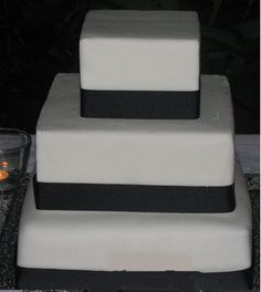 Simple Black and White Cake - front view