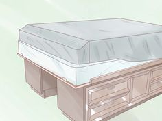 If you have two long dressers that are very sturdy, you can turn them into a queen-sized captain's bed to save space. Then you'll have plenty of clothes storage under the bed and the room will feel much more spacious. Measure the dressers...
