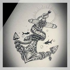 Home - Tattoo Spirit - 12 Anker-Motive mit Zitaten - Hai Tattoos, Body Art Tattoos, Sleeve Tattoos, Cool Tattoos, Female Tattoos, Tatoos, Sea Tattoo, Ocean Tattoos, Tattoo Thigh