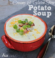 This creamy potato soup is easy, cheap, delicious AND gluten-free! You have to give this one a try! #GF #soup #DIY