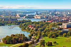 Picture of Scenic summer aerial panorama of Stockholm, Sweden stock photo, images and stock photography. Helsinki, Kingdom Of Sweden, Stockholm Archipelago, Sweden Travel, Scandinavian Countries, Fjord, Stockholm Sweden, Stockholm City, City Break