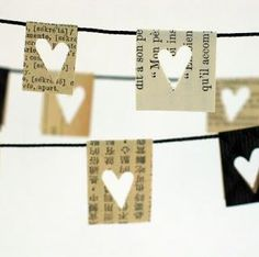 Decor: Heart garland from book pages