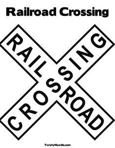Railroad Crossing Sign Coloring Page from TwistyNoodle.com