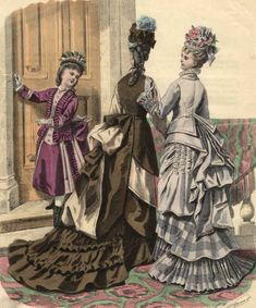 Large bustles came into fashion in 1873 and 1874 and little girl's fashion was not exempt from the trend. This 1874 fashion plate from Journal des Demoiselles shows a rather generously bustled little girl's ensemble.