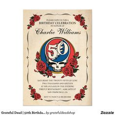 Grateful Dead   50th Birthday Party Invitation Card.  You can customize and personalize this invitation. the grateful dead, jerry garcia, dead head, 50th anniversary, grateful dead logo, grateful dead 50th anniversary http://www.zazzle.com/grateful_dead_50th_birthday_party_card-256770222066989649?rf=238577061362460707