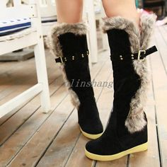 Warm Women'S Knee High Boots Fur Furry Snow Shoes Flat Heel Pull On Buckle Strap