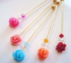 Rose Garden Hijab Pins Set Stick Pins / Hat by SweetStoneDesigns