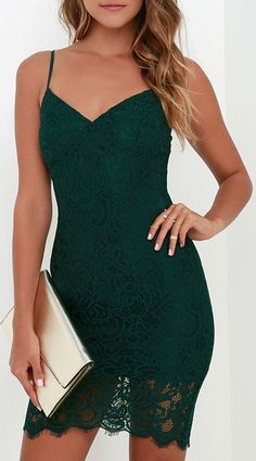 Figment of Fascination Dark Green Lace Bodycon Dress