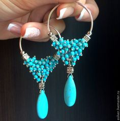Ideas Jewerly Diy Wire Beaded Jewelry - - The Effective Pictures We Offer You About DIY Wire Earrings dangles A quality picture can tel Handmade Beaded Jewelry, Wire Jewelry, Jewelry Crafts, Gemstone Jewelry, Jewellery, Sapphire Earrings, Turquoise Earrings, Diy Schmuck, Schmuck Design