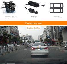 039f2dfffa Rociada del coche de la Cámara dvr dual lente de espejo retrovisor de  cámara grabadora registrador