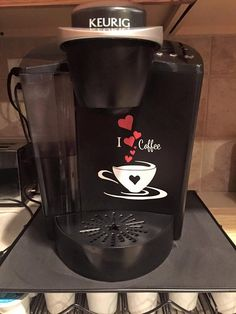 A personal favorite from my Etsy shop https://www.etsy.com/listing/273816166/keurig-coffee-maker-decal