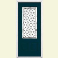 36 in. x 80 in. Halifax Three Quarter Rectangle Painted Smooth Fiberglass Prehung Front Door with Brickmold