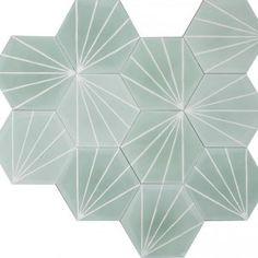 Marrakech Design - Dandelion hexagonal Tile in Celadon/Milk color Geometric Tiles, Hexagon Tiles, Küchen Design, Tile Design, Bathroom Interior, Interior Design Living Room, Tienda Pop-up, Jungle Bathroom, Contemporary Tile