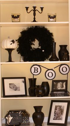 Black and White Halloween Decor - I really love the white pumpkin and the BOO, it's a cute halloween style.
