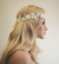 Blush pink wedding head wrap, flower lace head wrap, wedding headpiece, bridal headband, flower crown on Etsy, $79.00