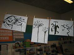 Peinture fond gris (rouleau ?) arbre à l'encre de chine puis neige à l'acrylique blanche (coton tige pour les points, pinceau fin pour les traces dans les branches)