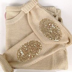 Beige sweater with glitter patches