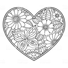 Mehndi flower pattern in form of heart with lotus for Henna drawing. - Mehndi flower pattern in form of heart with lotus for Henna drawing and tattoo. Heart Coloring Pages, Pattern Coloring Pages, Mandala Coloring Pages, Colouring Pages, Printable Coloring Pages, Adult Coloring Pages, Coloring Books, Coloring Sheets, Mehndi Flower