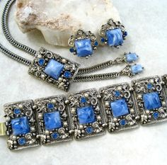Vintage Selro Parure Marbled Blue Lucite by GemsVintageGems, $235.00