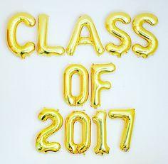 Class of 2017 Balloons, Gold 2017 Balloon, Class of 2017, Class Reunion, 10 year…