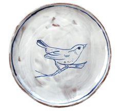 rustic earthenware songbird plate by Terra Home Ceramics