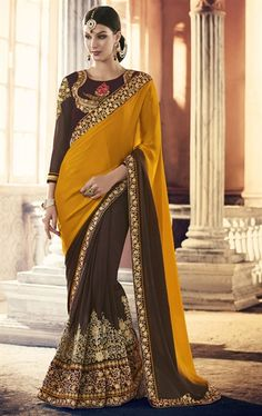 Flamboyant Brown and Yellow Designer Premium Saree