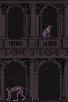 Fornasetti II wallpaper Collection of Cole & Son - procuratie e scimmie Fornasetti Wallpaper, Piero Fornasetti, Luxury Wallpaper, Wall Wallpaper, Purple Wallpaper, Custom Wallpaper, Fresco, Cole Son, Budget