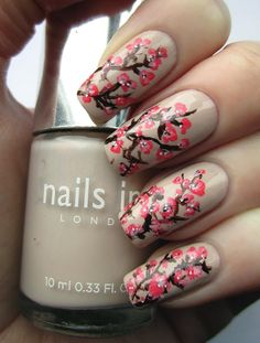 Pink Blossom Nail Art - 40 Examples of Elegant Nail Art  <3 <3